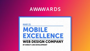 Mobile excellence recognition from Awwwards for Direct Line Development's website