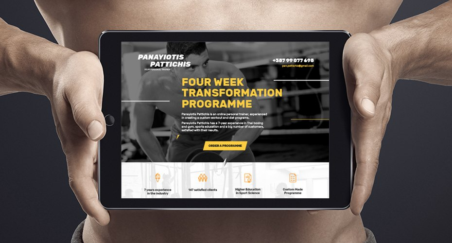 Landing page for the online personal trainer Panayiotis Pattichis