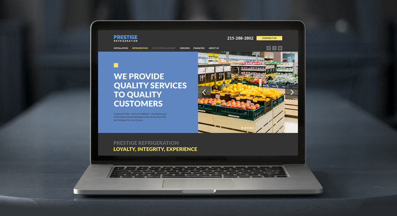 Prestige Refrigeration website design on the laptop