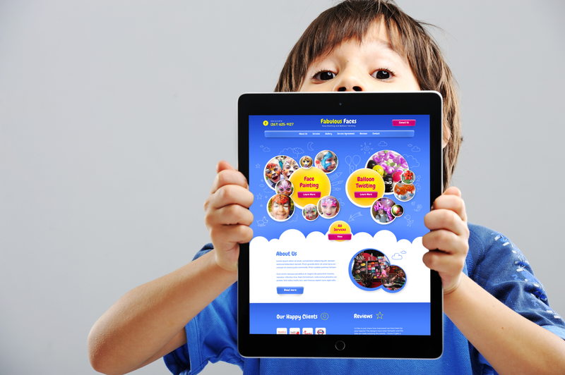 «Fabulous Faces»  Web Design and Development on tablet device
