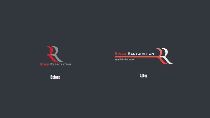 Company's logo design before and after re-work