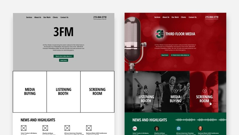 After the client has approved the website prototype, (on the left), we start work on the design. You can see the final result on the right.