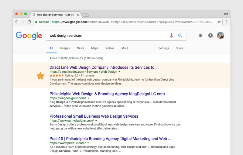 Top position in search result for keyword «Website Design services»