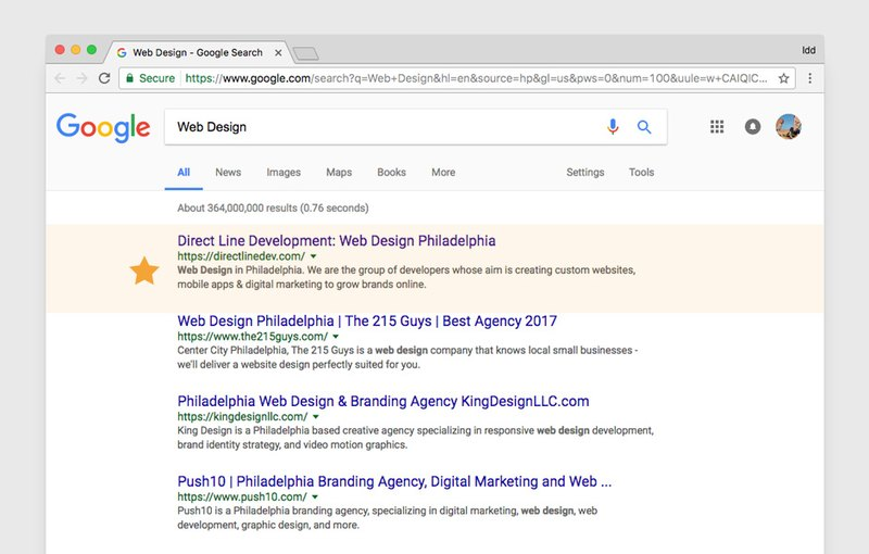 Top position in search result rankings for keyword «Web Design»