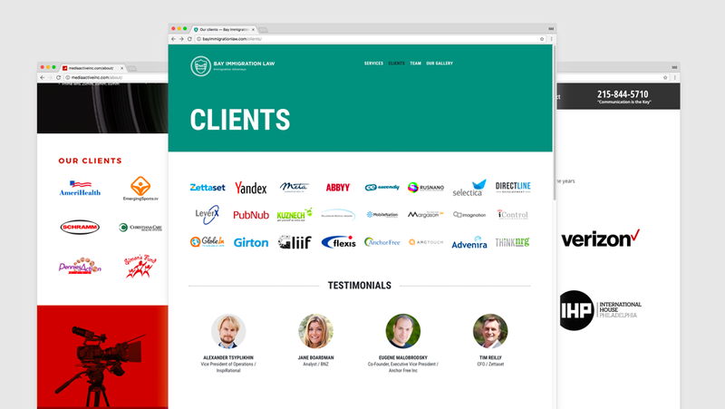 3 different blocks of clients and partners in websites