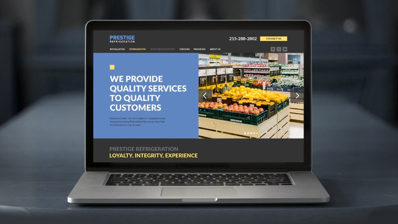 The main page of the Prestige Refrigeration company
