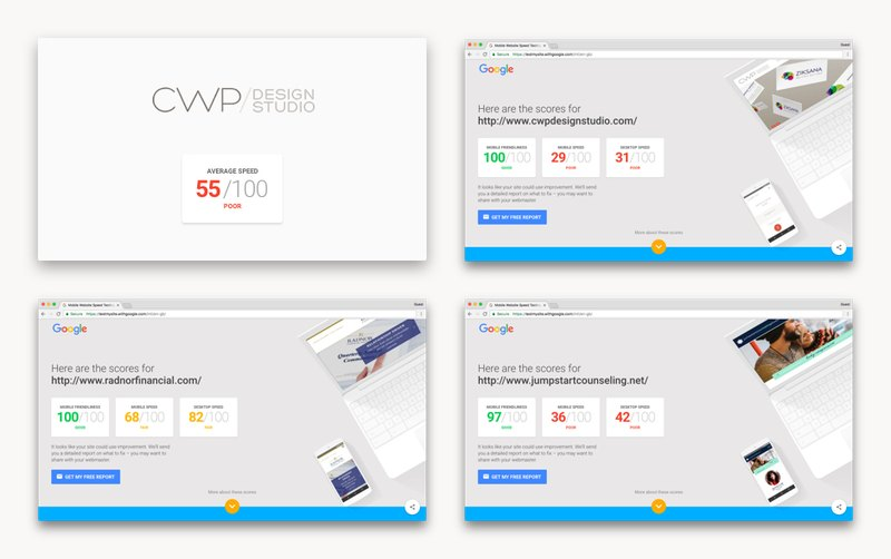 CWP Design Studio websites on page speed test,  img 1