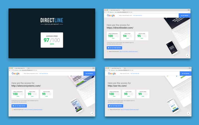 Direct Line Development websites on page speed test,  img 1
