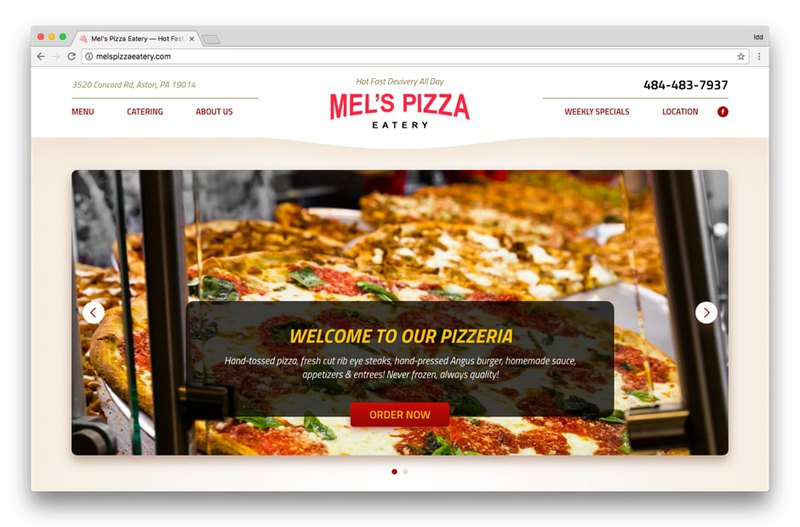 Mel's Pizzeria contact block