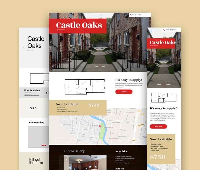 website development for the Castle Oaks Apartments