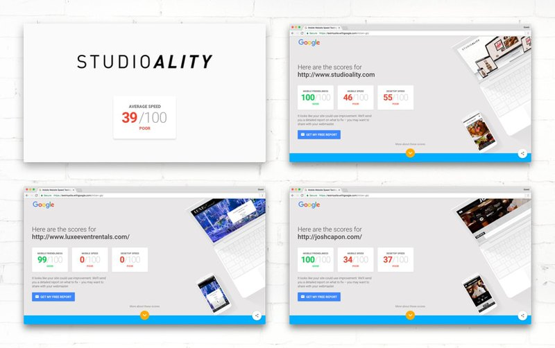 Page speed test of first websites from Studio Atlity