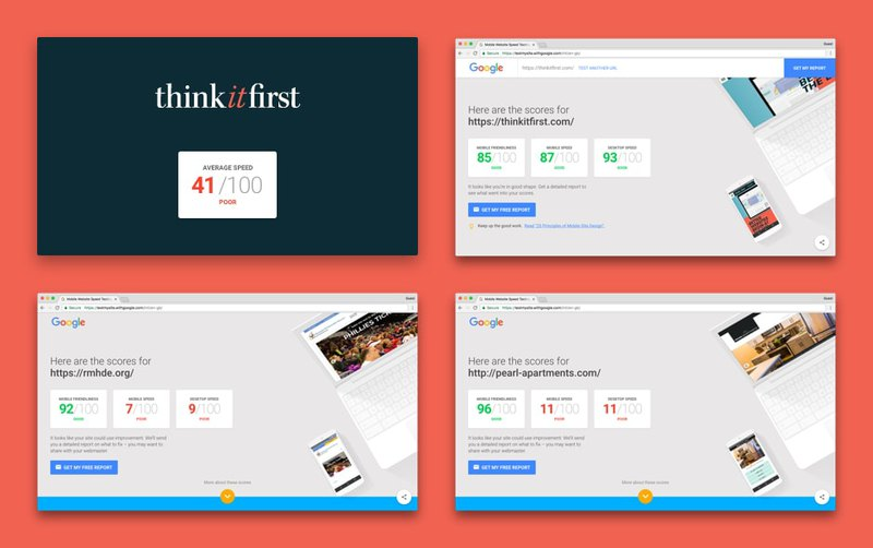 Page speed test of first websites from Think it First