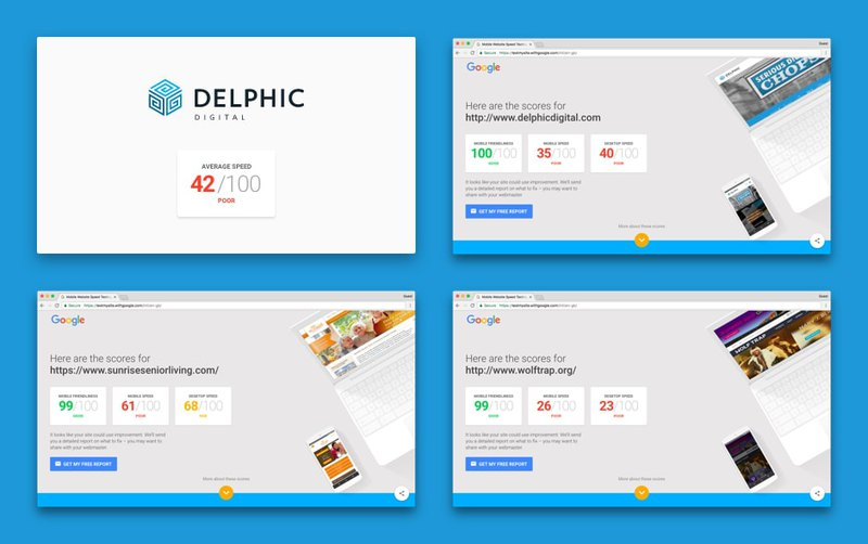 Page speed test of first websites from Delphic Digital