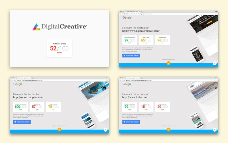 Page speed test of first websites from Digital Creative