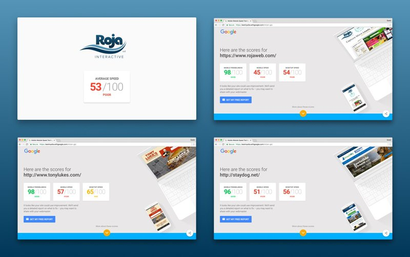 Page speed test of first websites from Roja Interactive