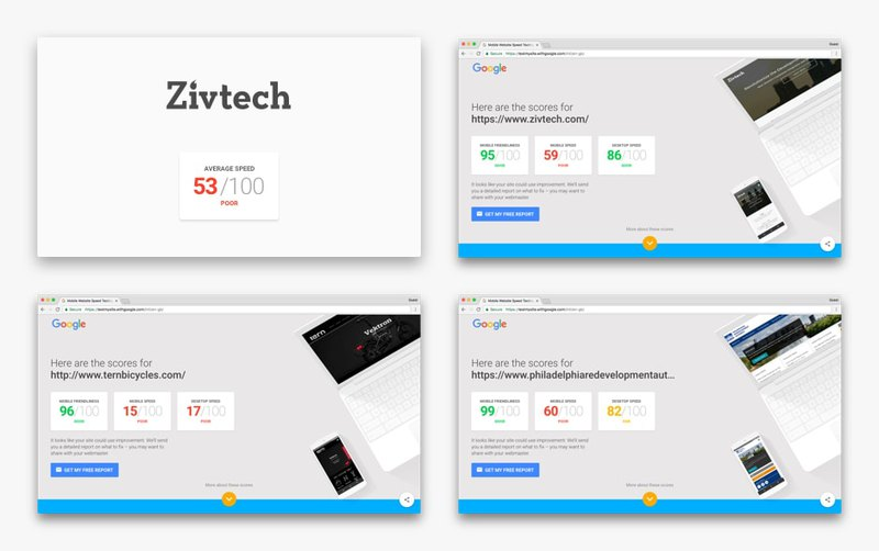 Page speed test of first websites from Zivtech