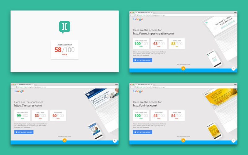 Page speed test of first websites from Impart Creative