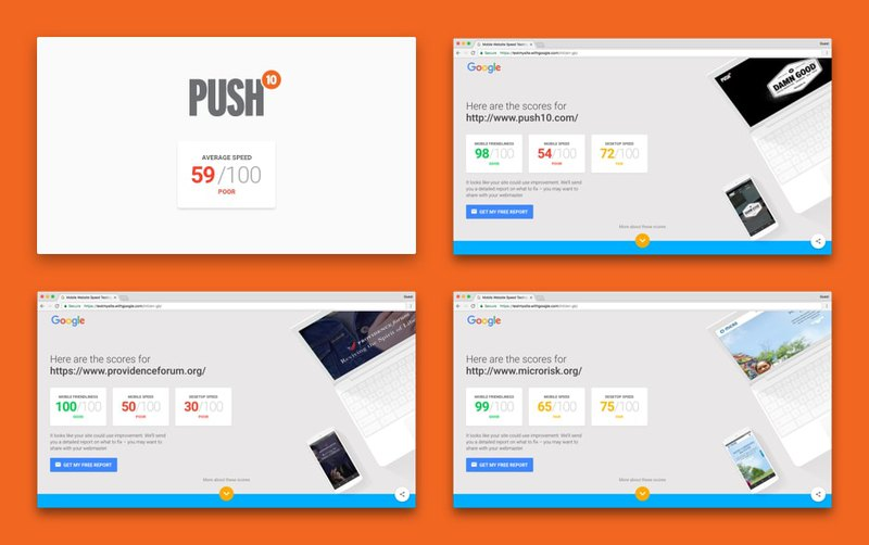 Page speed test of first websites from Push 10