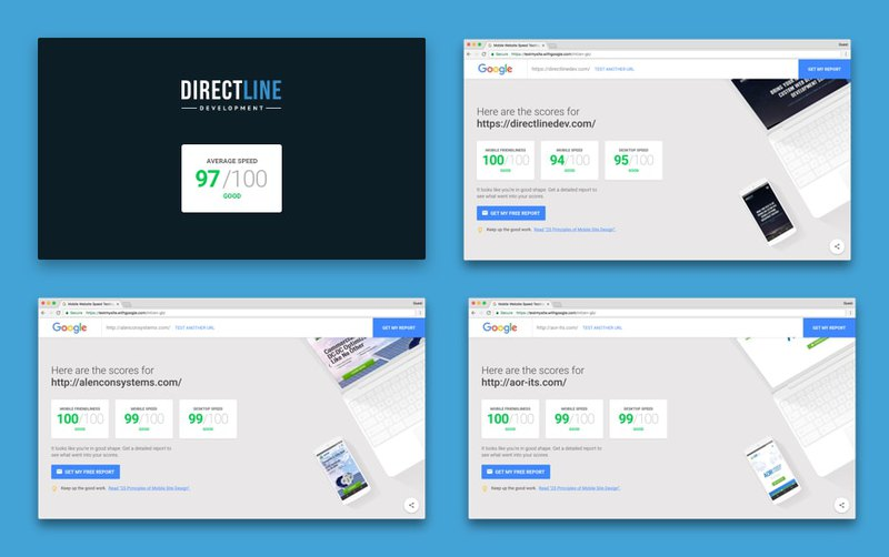 Page speed test of first websites from Direct Line Development