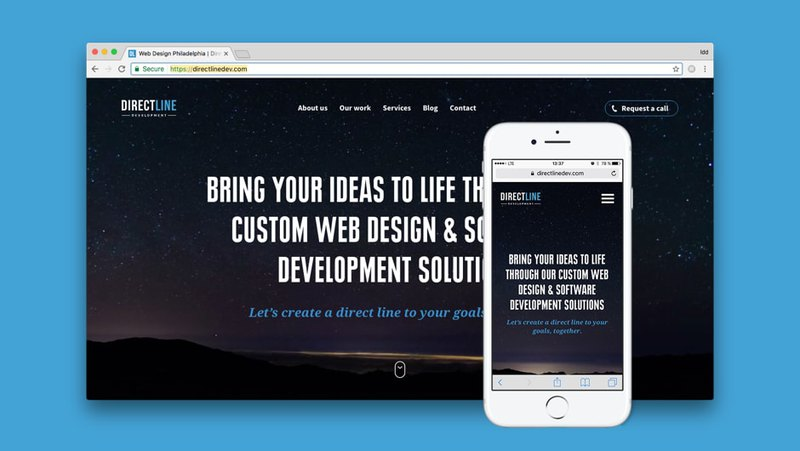 Direct Line Development website is responsive and adaptive