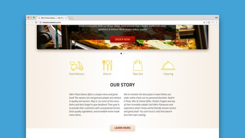 Website usability and SEO in Mel's Pizza Eatery website