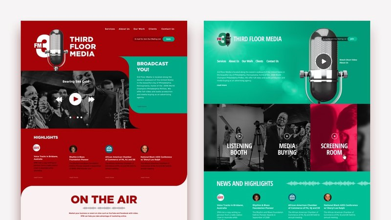 2 concepts of Third Floor Media main page