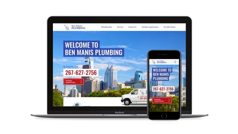 Web development for Ben Manis Plumbing in different devices