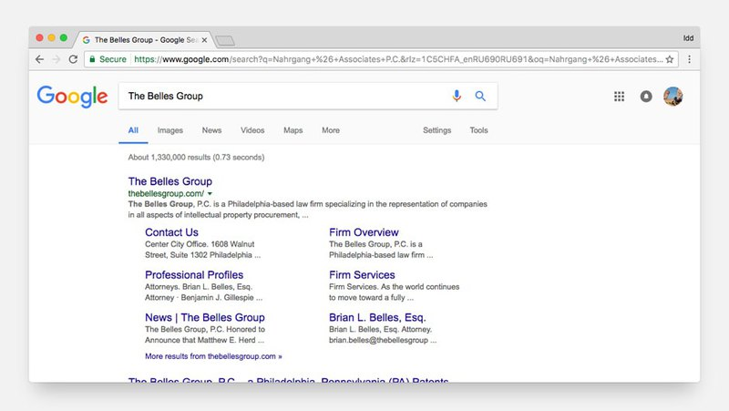 The Belles Group links in SERP
