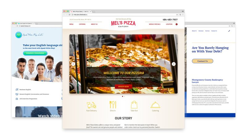 Custom web design for Speak Write Play, Mel's Pizzeria and Nahrgang Law