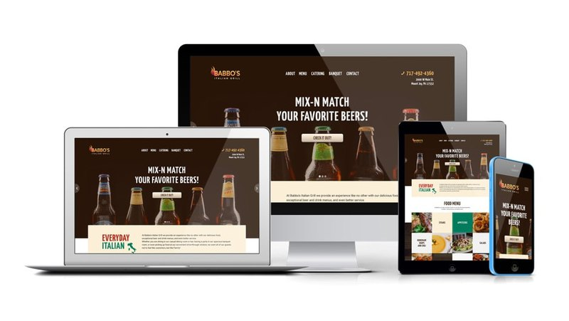 Web design of Babbo's Italian Grill adapted for other devices