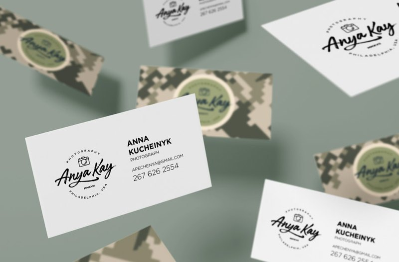 Anya Kay logo design on business cards