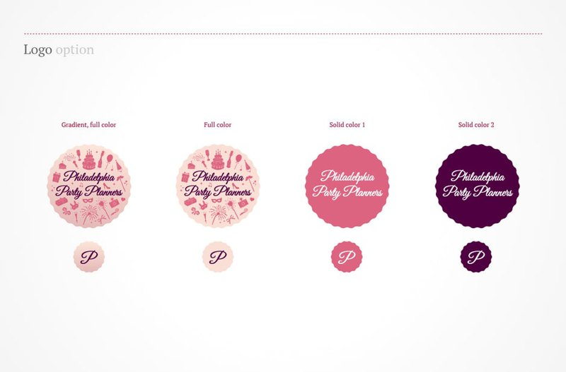 Philadelphia Party Planners logo options in pink