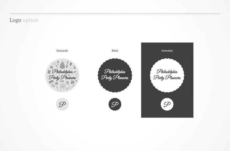 Philadelphia Party Planners logo options in black