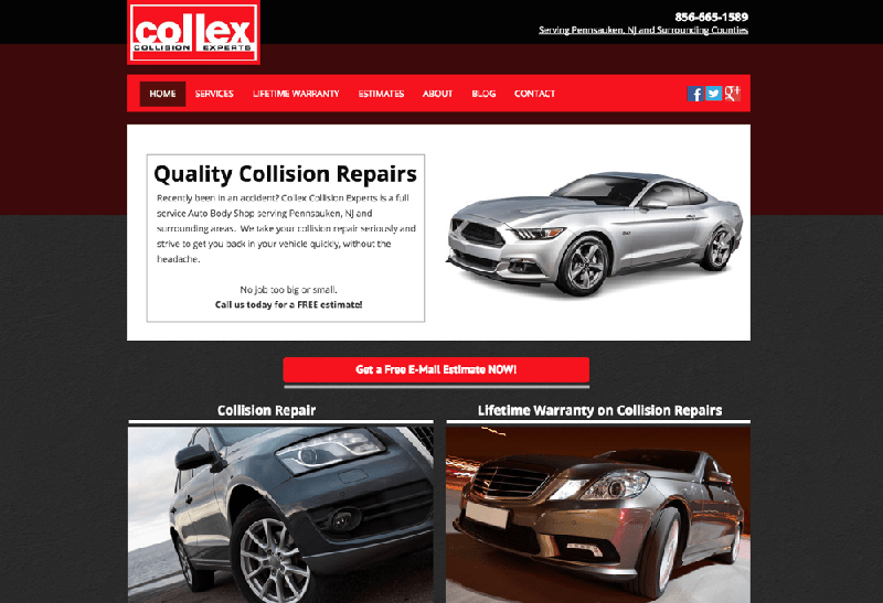 Old web design of Collex home page