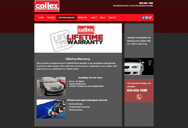 Old web design of Collex service page
