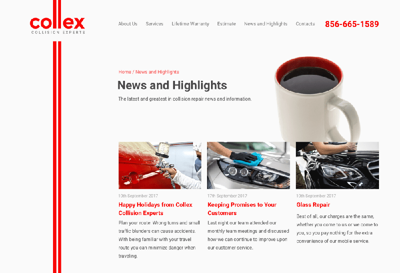 New web design of Collex service page