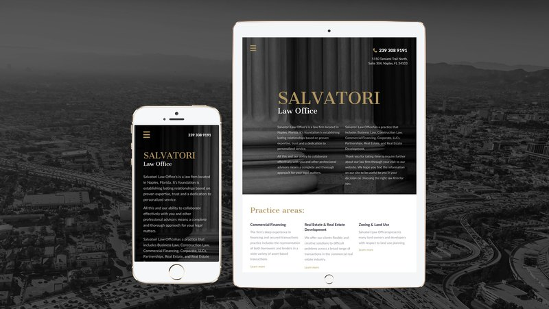 Responsive web design of Salvatory law firm