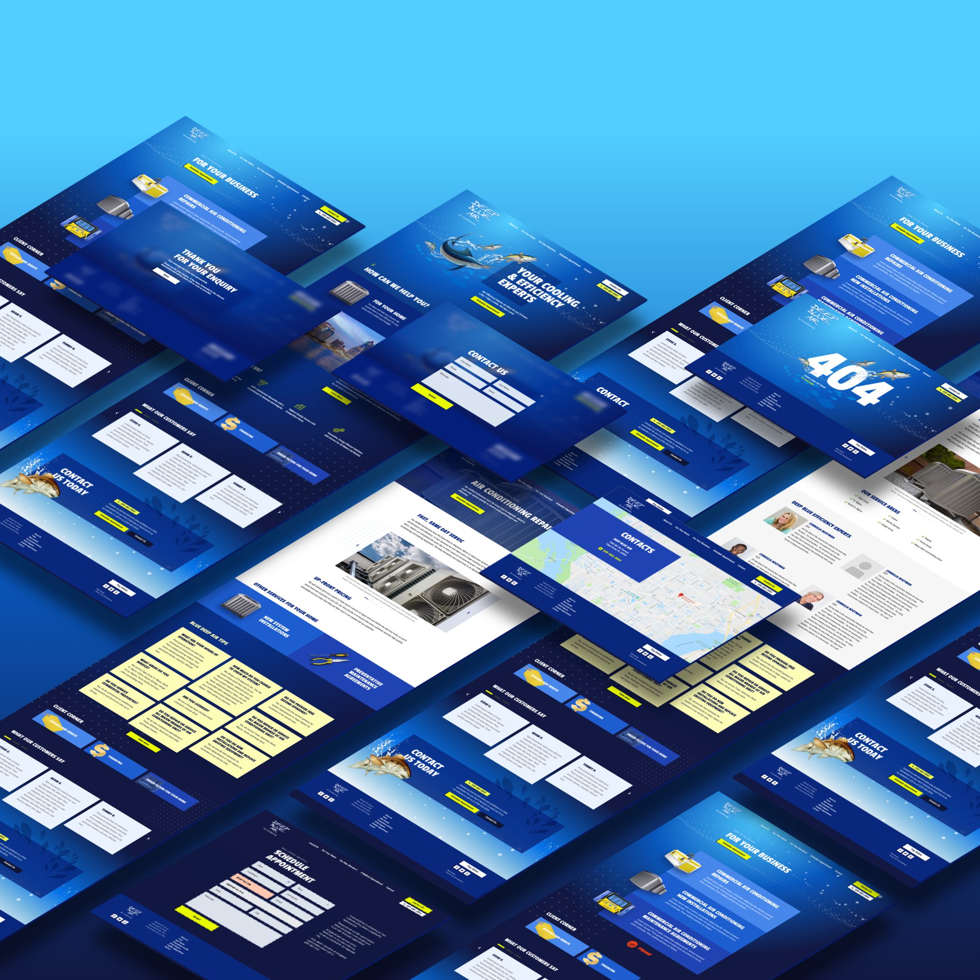 Parallax block with Deep Blue Air web design