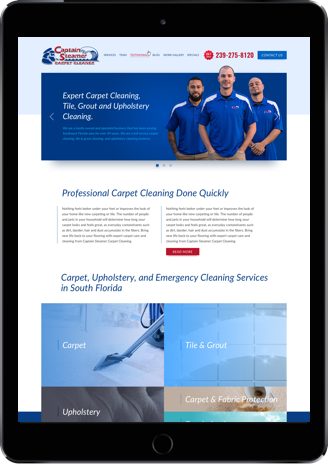 Web design for Captain Steamer on iPad