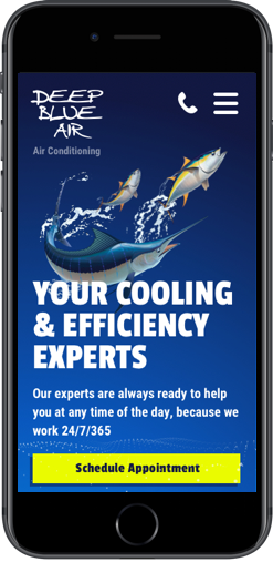 Web design for Deep Blue Air on iPhone Plus