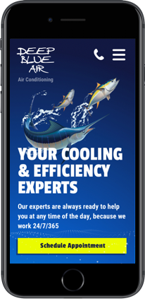 Web design for Deep Blue Air on iPhone