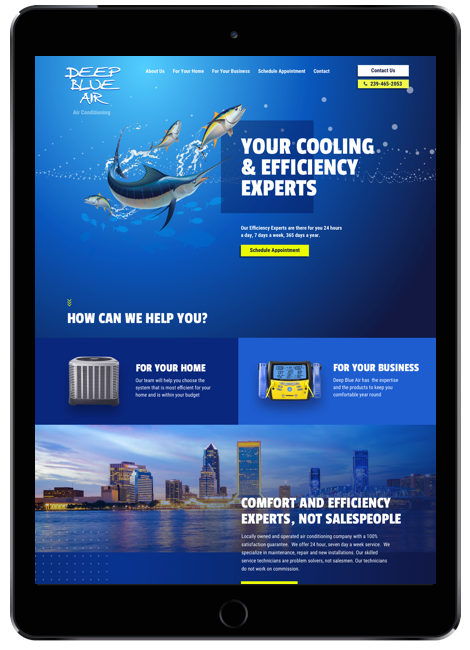 Web design for Deep Blue Air on iPad