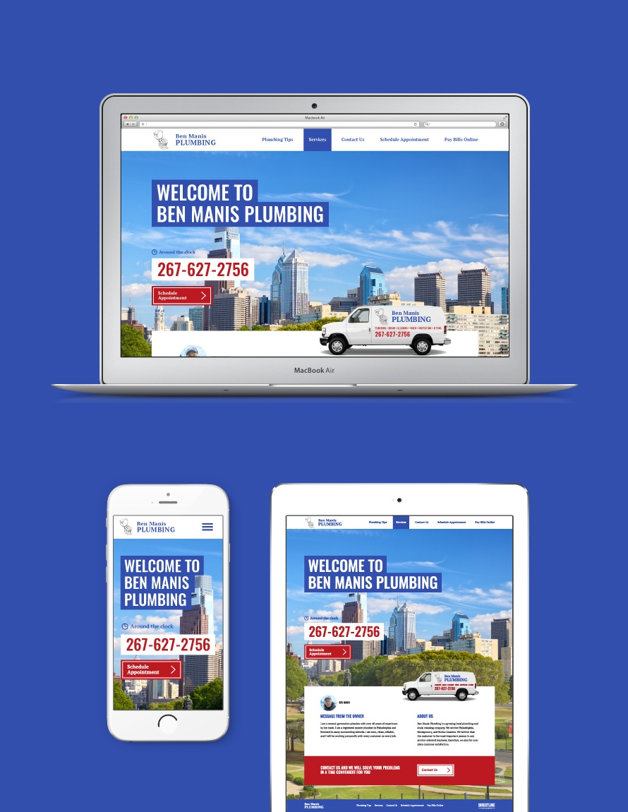 Ben Manis Plumbing website design looks great on any devises