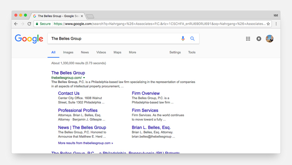 The Sitelinks of The Belles Group increase the trust level and help to dominate on a search results page.