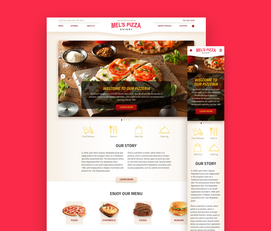 Main page development for Mel's Pizzeria website