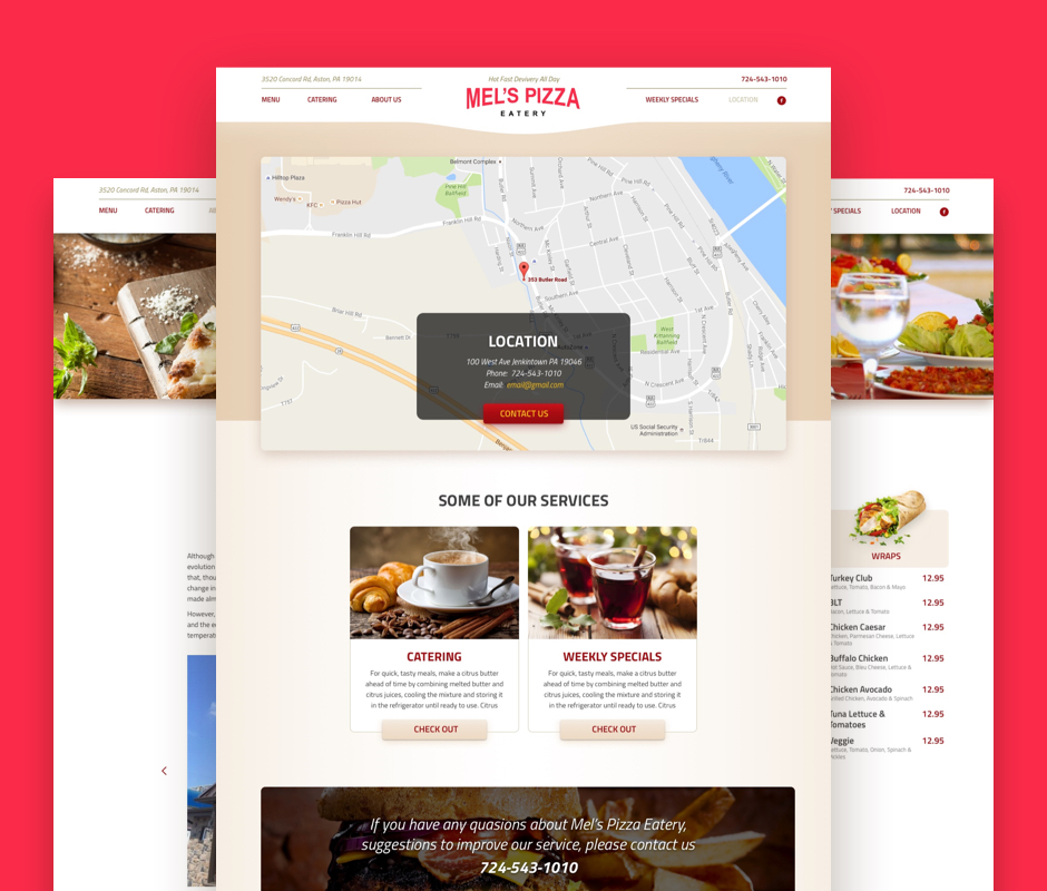Contact page development for Mel's Pizzeria website
